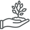 Sprout in hand line icon, farming and agriculture, plant care sign vector graphics, a linear pattern on a white background, eps 10.